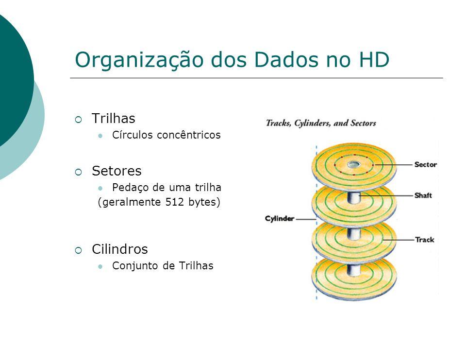 Organização dos Dados no HD Trilhas Círculos concêntricos Setores Pedaço de uma trilha (geralmente 512 bytes) Cilindros Conjunto de Trilhas