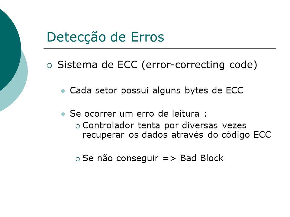Detecção de Erros Sistema de ECC (error-correcting code) Cada setor possui alguns bytes de ECC Se ocorrer um erro de leitura : Controlador tenta por d