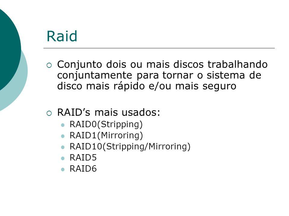 Raid Conjunto dois ou mais discos trabalhando conjuntamente para tornar o sistema de disco mais rápido e/ou mais seguro RAIDs mais usados: RAID0(Strip