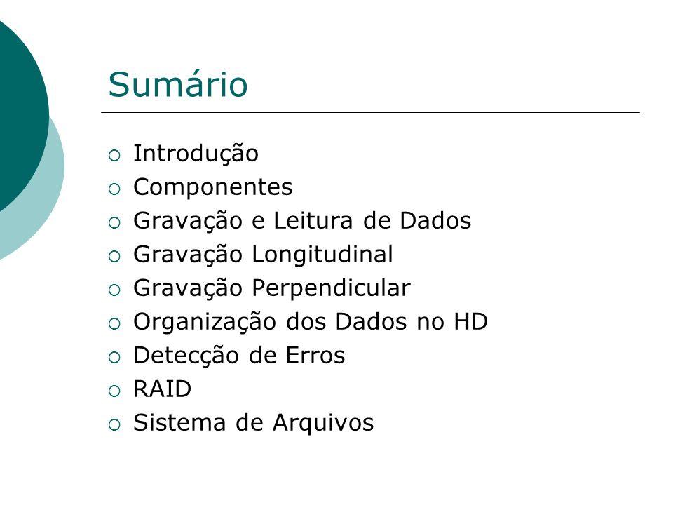 Sumário Introdução Componentes Gravação e Leitura de Dados Gravação Longitudinal Gravação Perpendicular Organização dos Dados no HD Detecção de Erros
