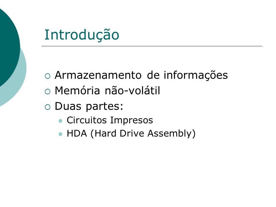 Introdução Armazenamento de informações Memória não-volátil Duas partes: Circuitos Impresos HDA (Hard Drive Assembly)