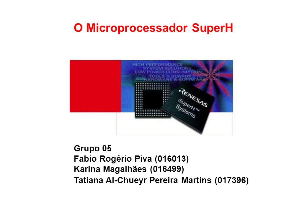 DETALHES DO PROCESSADOR SH7750 ClasseSH4-MPU Freqüência de clock200 MHz Média de MIPS360 MIPS (Drhystone 1.1) Média do Ponto Flutuante1400 MFLOPS Pipeline5 estágios Superescalarsim Memória cache para instruções8 KB Memória cache para dados16 KB Barramento de dados64 bits Freqüência do barramento100 MHz Largura de banda do barramento800 MB/seg Dissipação de energia1.5 W (com freq.
