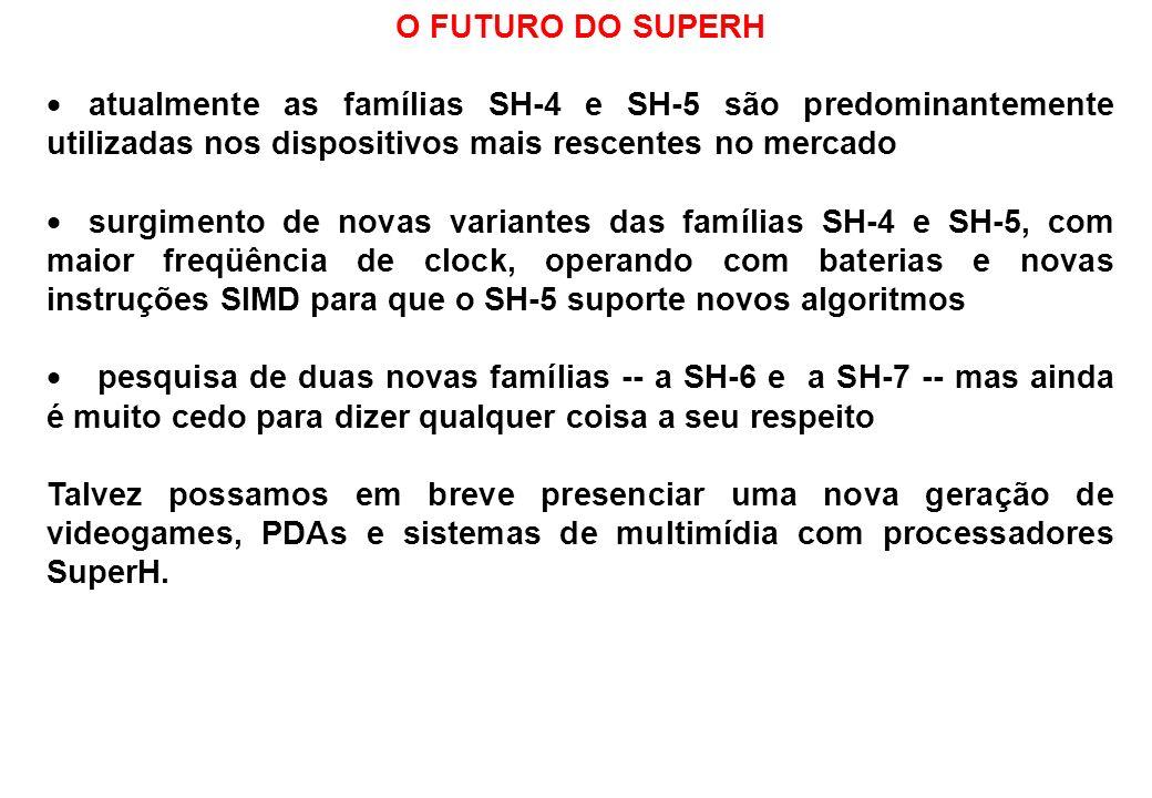 O FUTURO DO SUPERH atualmente as famílias SH-4 e SH-5 são predominantemente utilizadas nos dispositivos mais rescentes no mercado surgimento de novas