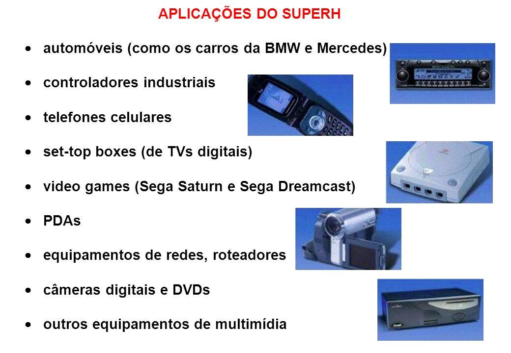 AS CINCO FAMÍLIAS DO SUPERH SH-1: 32 bits com freqüência de clock de até 20MHz SH-2: 32 bits com freqüência de clock de até 28.7MHz, usado no videogame Sega Saturn SH-3: 32 bits com freqüência de clock de até 200MHz, incorpora uma MMU e é muito usada em PDAs SH-4: dual issue de 32 bits com vetor de FPU, usado no videogame Dreamcast SH-5: 64 bits com freqüência de clock de até 400MHz e vetor de FPU, possui também um pipeline de 5 estágios Desempenho das diferentes CPUs considerando o benchmark Drystone