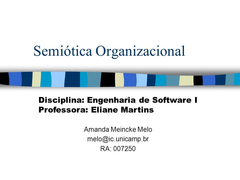 Semiótica Organizacional Amanda Meincke Melo melo@ic.unicamp.br RA: 007250 Disciplina: Engenharia de Software I Professora: Eliane Martins