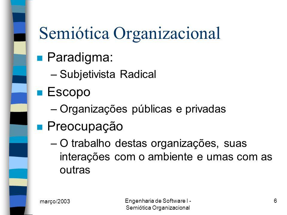 março/2003 Engenharia de Software I - Semiótica Organizacional 6 n Paradigma: –Subjetivista Radical n Escopo –Organizações públicas e privadas n Preocupação –O trabalho destas organizações, suas interações com o ambiente e umas com as outras Semiótica Organizacional