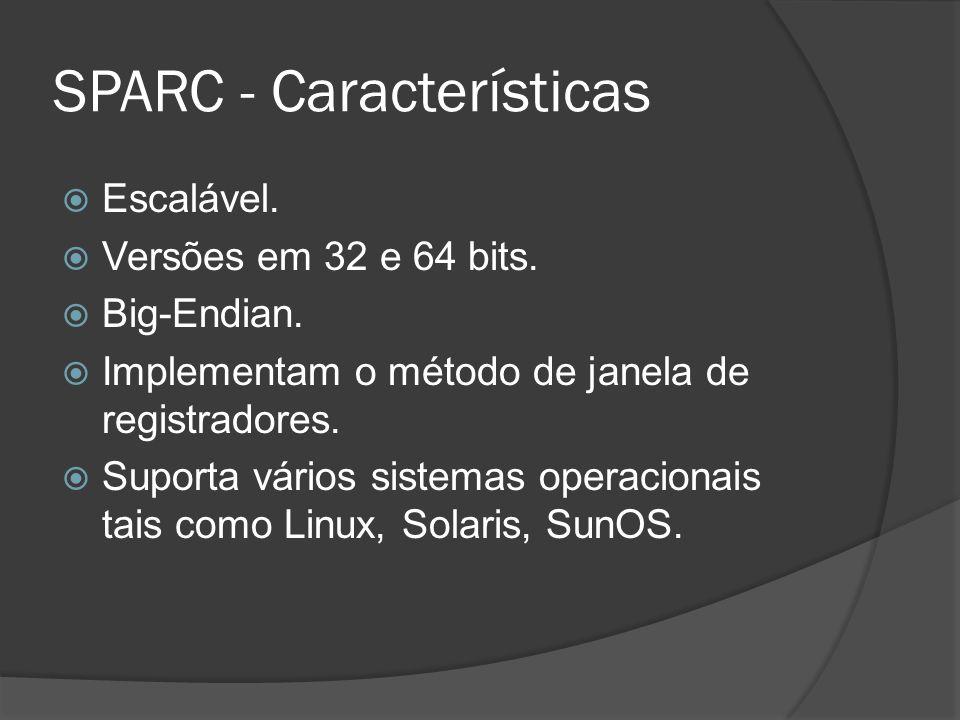 SPARC - Características Escalável. Versões em 32 e 64 bits. Big-Endian. Implementam o método de janela de registradores. Suporta vários sistemas opera