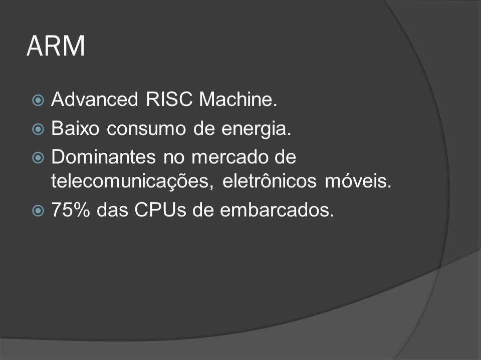 ARM Advanced RISC Machine. Baixo consumo de energia. Dominantes no mercado de telecomunicações, eletrônicos móveis. 75% das CPUs de embarcados.