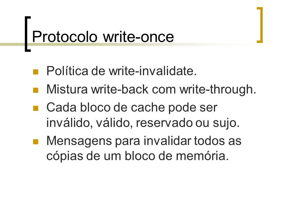 Protocolo write-once Política de write-invalidate. Mistura write-back com write-through. Cada bloco de cache pode ser inválido, válido, reservado ou s