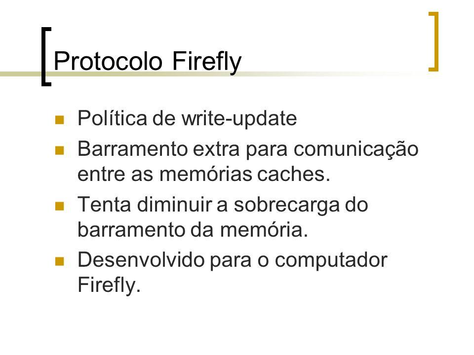 Protocolo Firefly Política de write-update Barramento extra para comunicação entre as memórias caches. Tenta diminuir a sobrecarga do barramento da me