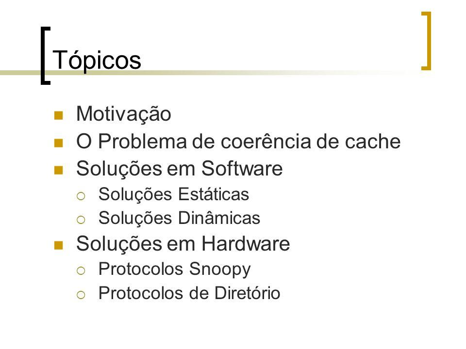 Tópicos Motivação O Problema de coerência de cache Soluções em Software Soluções Estáticas Soluções Dinâmicas Soluções em Hardware Protocolos Snoopy P