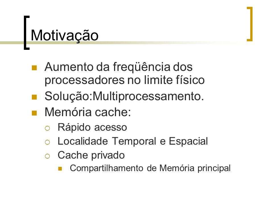 Motivação Aumento da freqüência dos processadores no limite físico Solução:Multiprocessamento. Memória cache: Rápido acesso Localidade Temporal e Espa