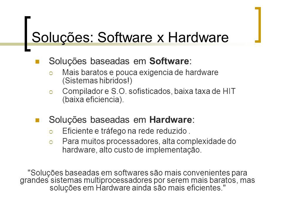 Soluções: Software x Hardware Soluções baseadas em Software: Mais baratos e pouca exigencia de hardware (Sistemas hibridos!) Compilador e S.O. sofisti