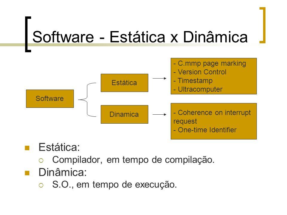 Software - Estática x Dinâmica Estática: Compilador, em tempo de compilação. Dinâmica: S.O., em tempo de execução. Estática Dinamica Software - C.mmp