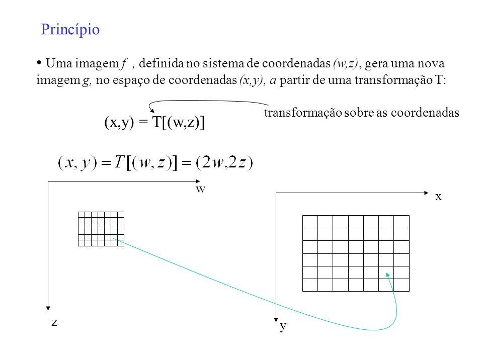 Uma imagem f, definida no sistema de coordenadas (w,z), gera uma nova imagem g, no espaço de coordenadas (x,y), a partir de uma transformação T: Princ