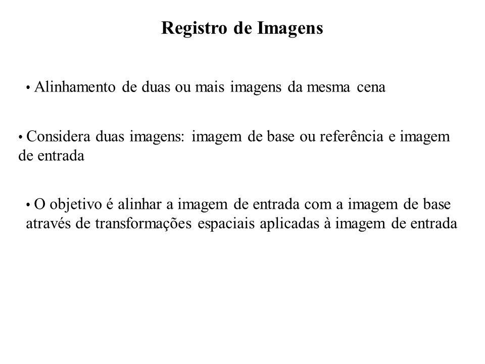 Registro de Imagens Alinhamento de duas ou mais imagens da mesma cena Considera duas imagens: imagem de base ou referência e imagem de entrada O objet