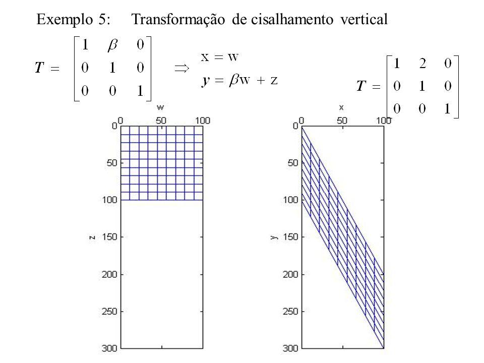 Interpolação bilinear Interpola um valor de nível de cinza na posição (w´,z´), ao invés de considerar apenas o valor do vizinho mais próximo nesta posição (interpolação de ordem zero).