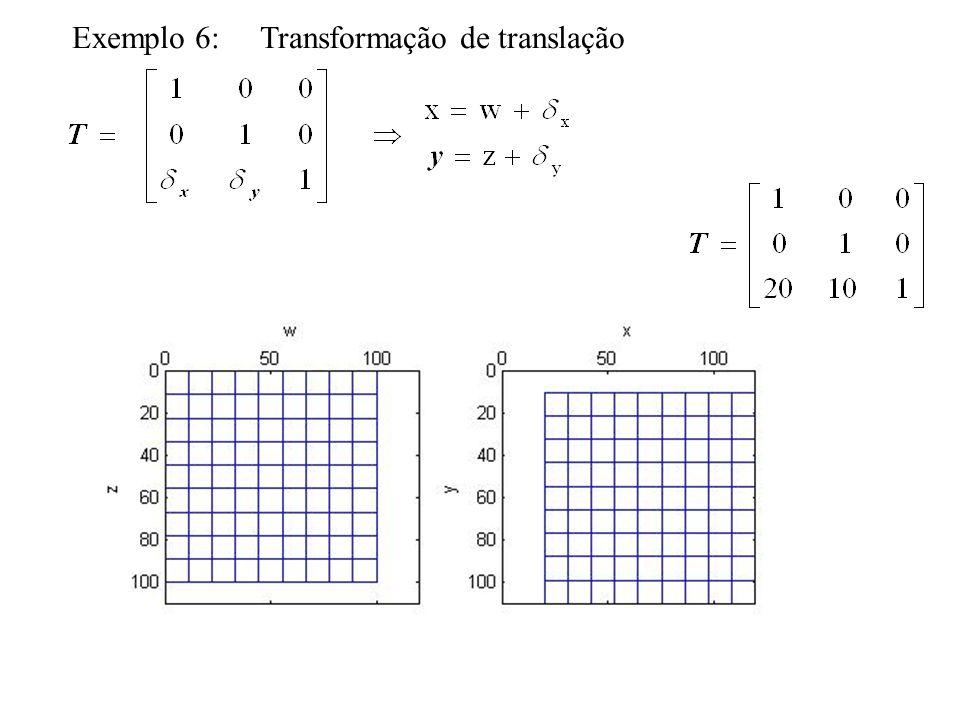 Transformações lineares conformes Transformações afins com preservação de formas e ângulos Consiste de um fator de escala, de translação e ângulo de rotação