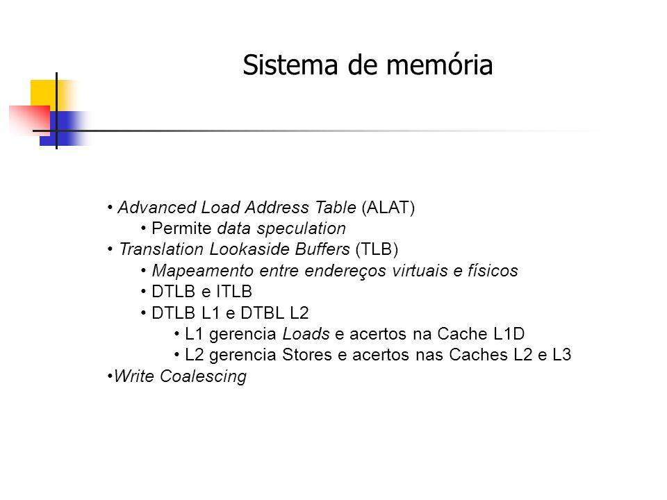 Sistema de memória Advanced Load Address Table (ALAT) Permite data speculation Translation Lookaside Buffers (TLB) Mapeamento entre endereços virtuais