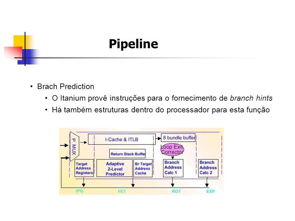 Pipeline Brach Prediction O Itanium provê instruções para o fornecimento de branch hints Há também estruturas dentro do processador para esta função