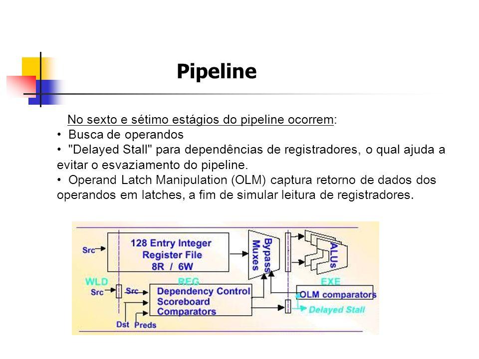 Pipeline No sexto e sétimo estágios do pipeline ocorrem: Busca de operandos