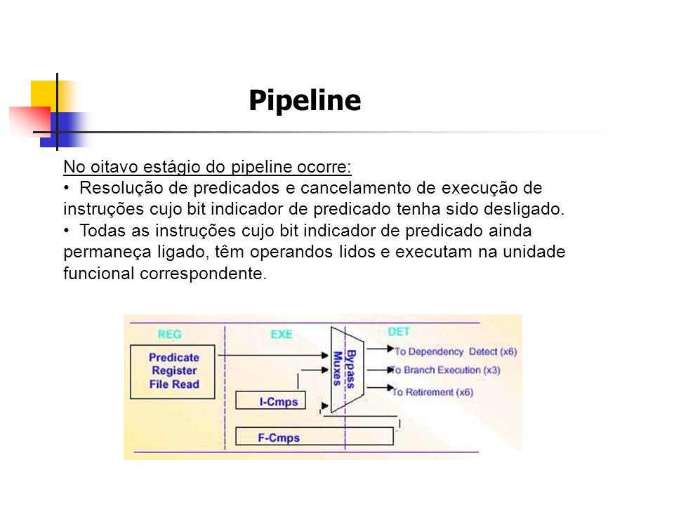 Pipeline No oitavo estágio do pipeline ocorre: Resolução de predicados e cancelamento de execução de instruções cujo bit indicador de predicado tenha