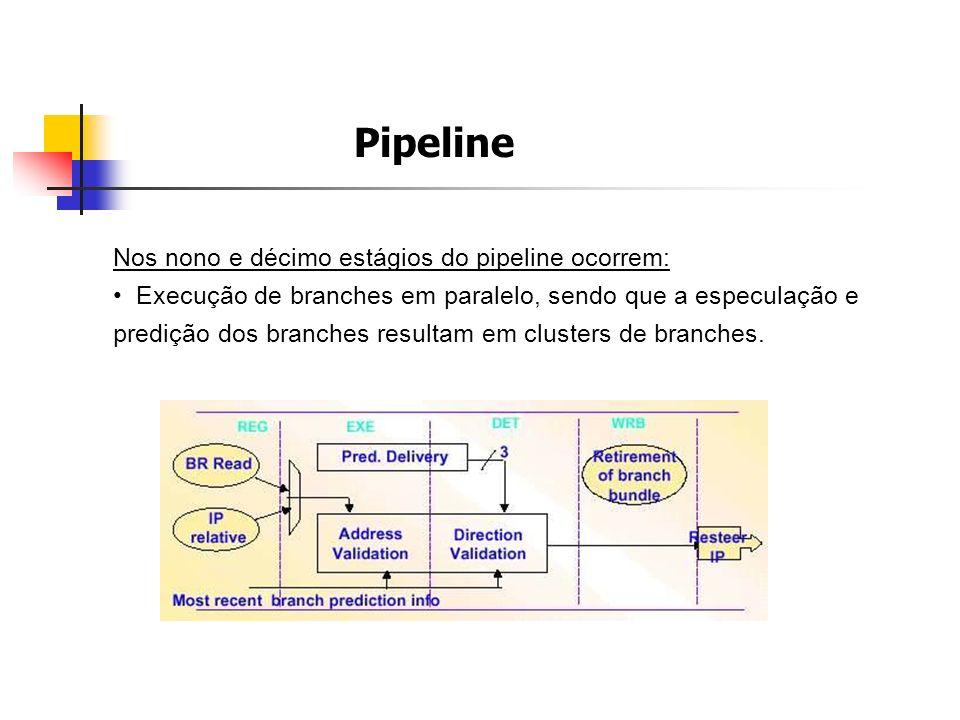 Nos nono e décimo estágios do pipeline ocorrem: Execução de branches em paralelo, sendo que a especulação e predição dos branches resultam em clusters