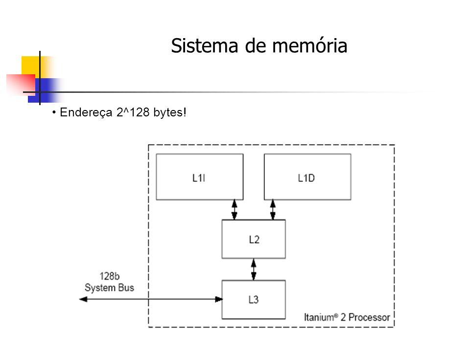 Sistema de memória Endereça 2^128 bytes!