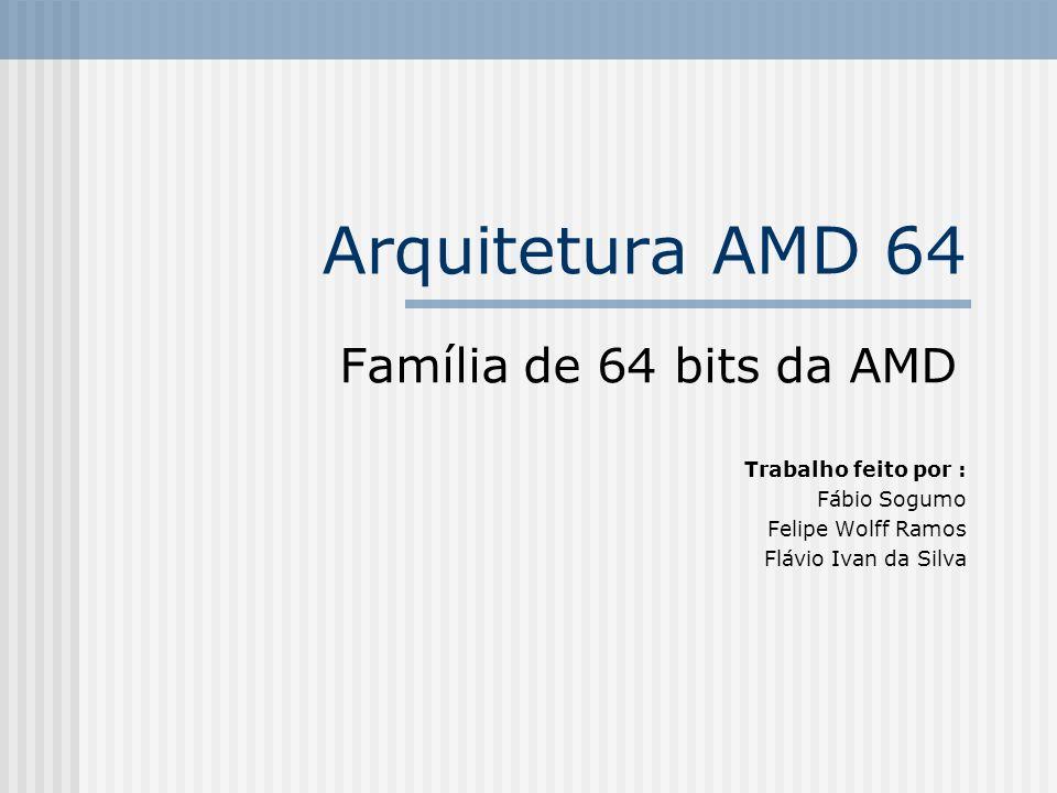 Arquitetura AMD 64 Família de 64 bits da AMD Trabalho feito por : Fábio Sogumo Felipe Wolff Ramos Flávio Ivan da Silva