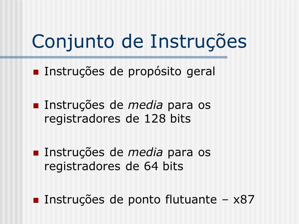 Conjunto de Instruções Instruções de propósito geral Instruções de media para os registradores de 128 bits Instruções de media para os registradores d
