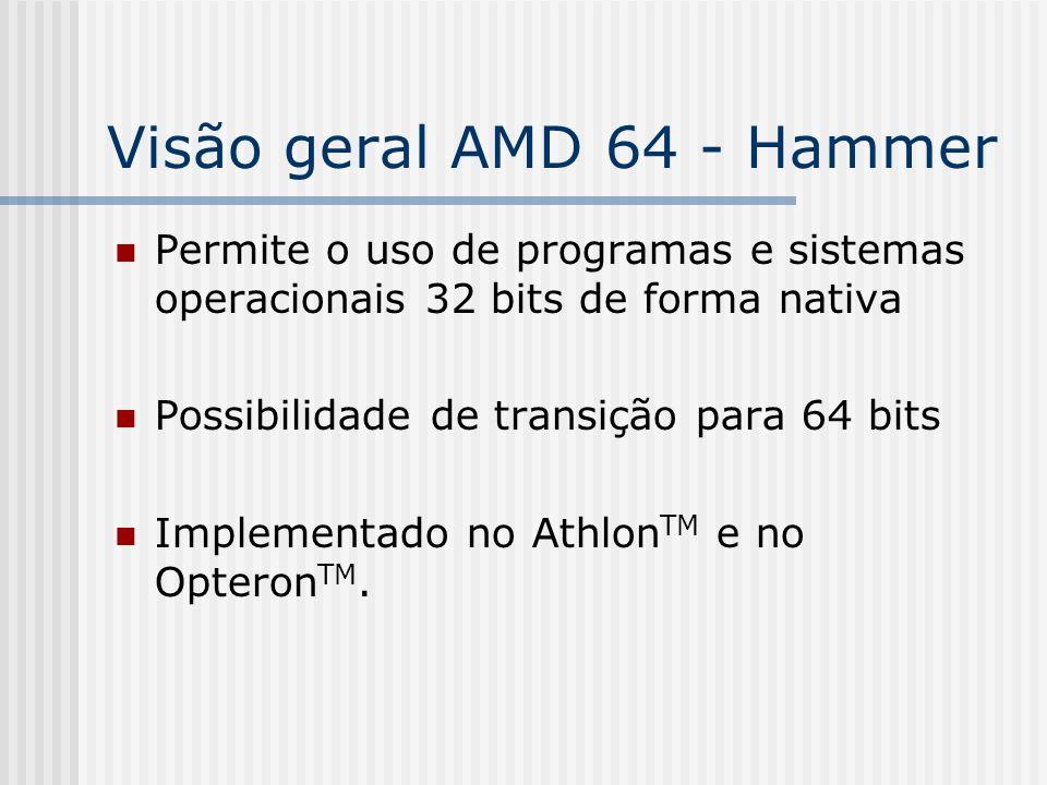 Visão geral AMD 64 - Hammer Permite o uso de programas e sistemas operacionais 32 bits de forma nativa Possibilidade de transição para 64 bits Impleme
