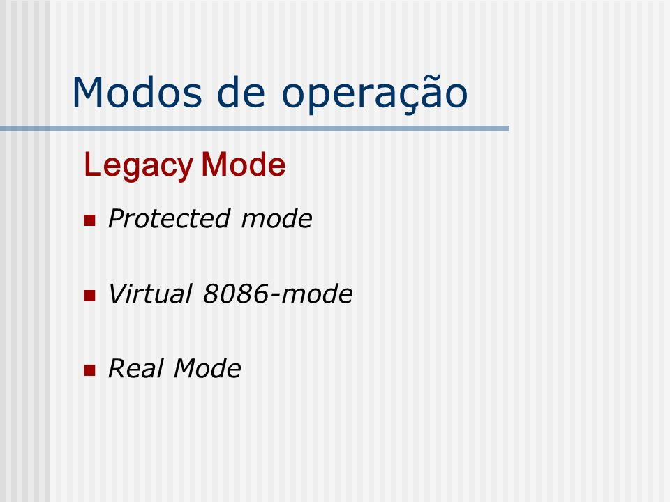 Modos de operação Protected mode Virtual 8086-mode Real Mode Legacy Mode