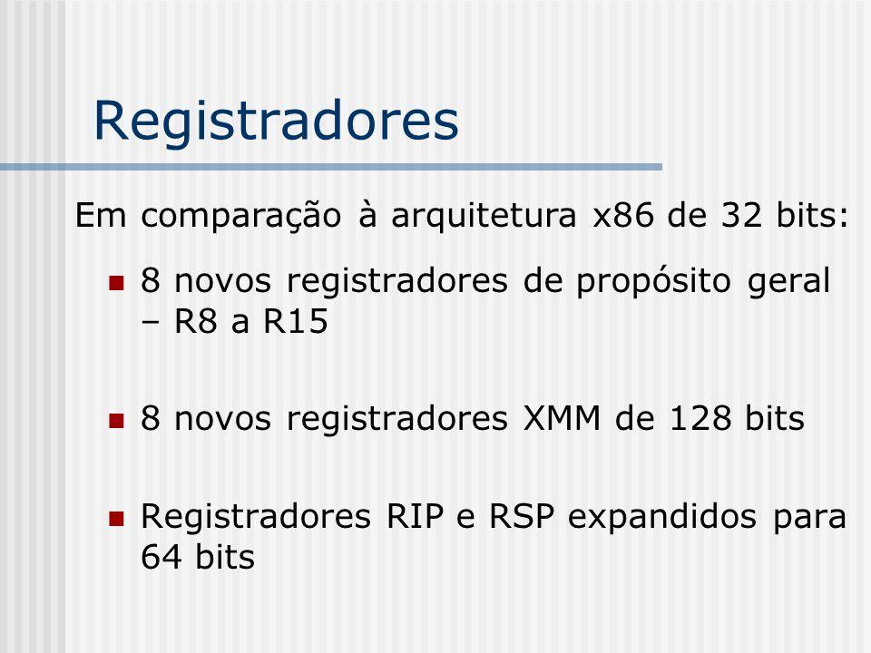 Registradores 8 novos registradores de propósito geral – R8 a R15 8 novos registradores XMM de 128 bits Registradores RIP e RSP expandidos para 64 bit