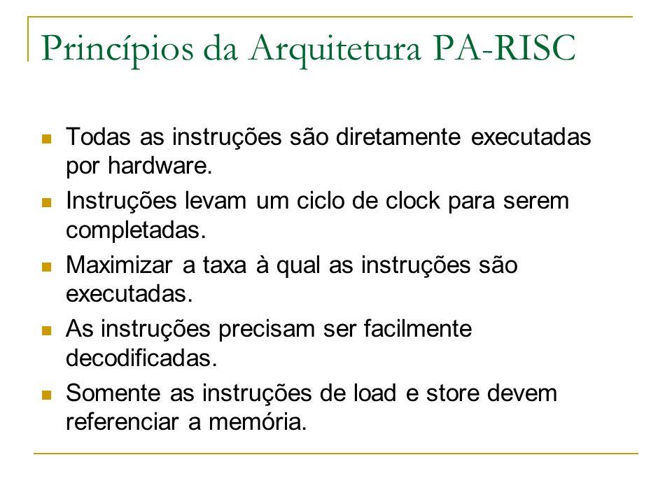Princípios da Arquitetura PA-RISC Todas as instruções são diretamente executadas por hardware. Instruções levam um ciclo de clock para serem completad