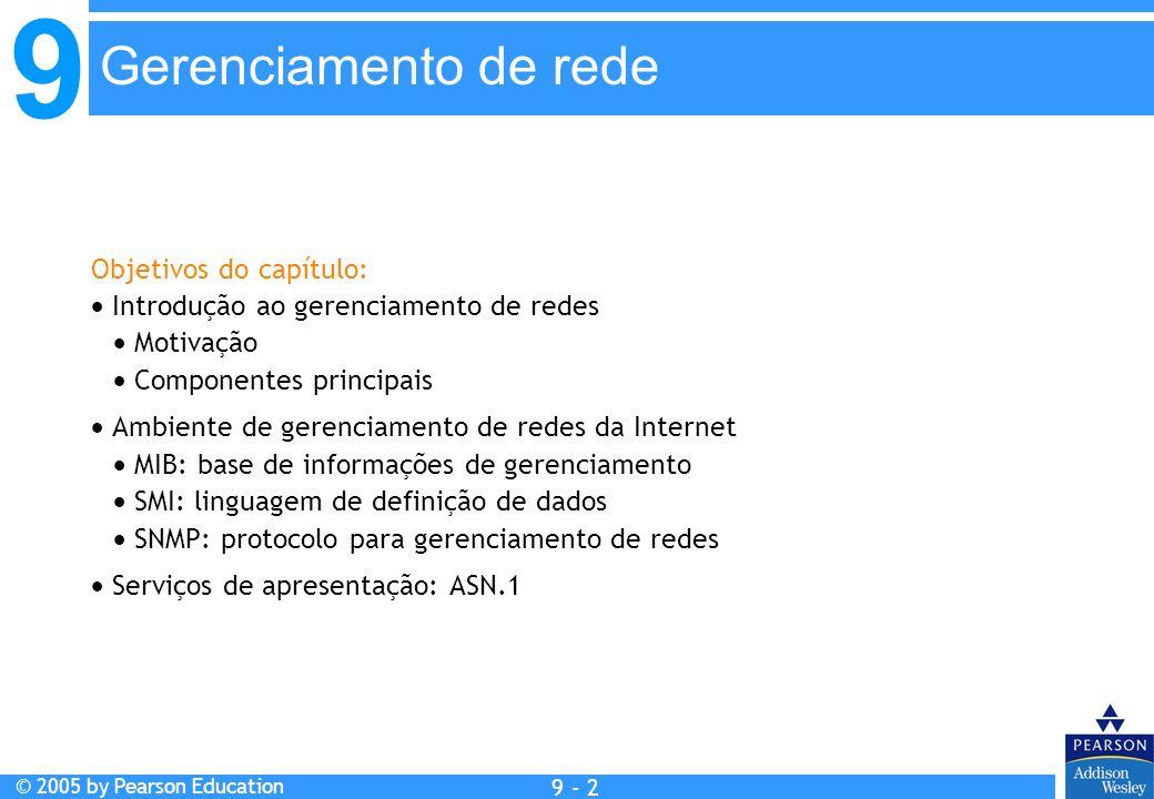 9 © 2005 by Pearson Education 9 - 2 Gerenciamento de rede Objetivos do capítulo: Introdução ao gerenciamento de redes Motivação Componentes principais