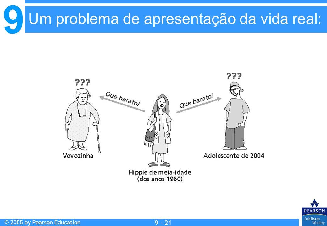 9 © 2005 by Pearson Education 9 - 21 Um problema de apresentação da vida real: