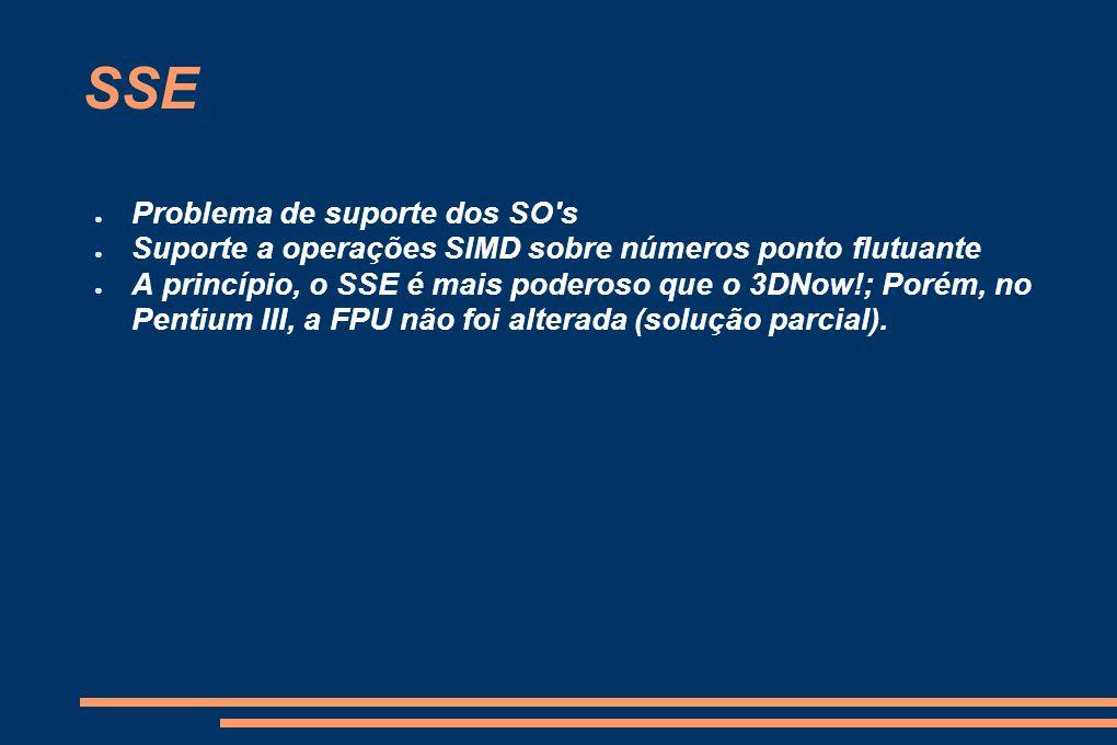SSE Problema de suporte dos SO's Suporte a operações SIMD sobre números ponto flutuante A princípio, o SSE é mais poderoso que o 3DNow!; Porém, no Pen