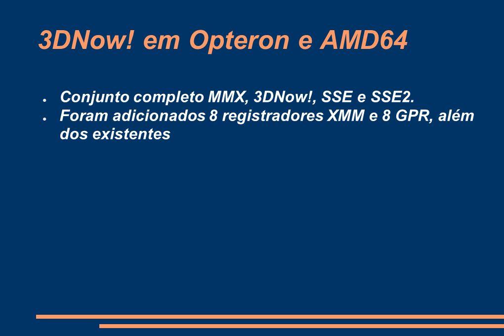 3DNow! em Opteron e AMD64 Conjunto completo MMX, 3DNow!, SSE e SSE2. Foram adicionados 8 registradores XMM e 8 GPR, além dos existentes