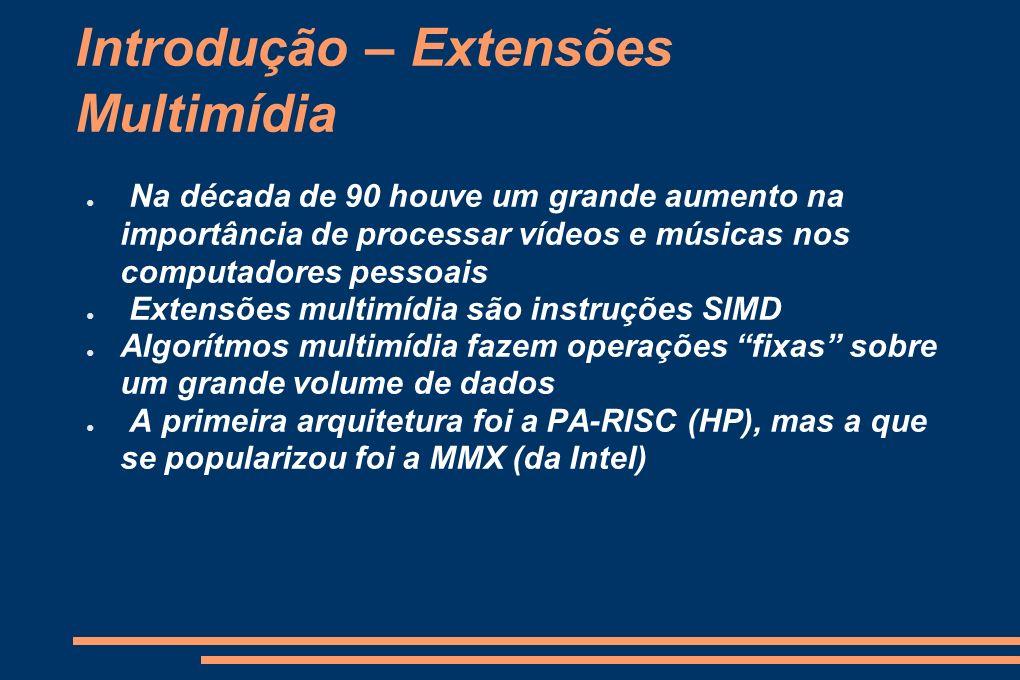 Introdução - Apresentação Como extensões multimídia são implementadas Descrição dos sistemas mais utilizados (MMX, SSE, 3DNow!, AltVec, etc.) Exemplos e análise de desempenho Conclusão.