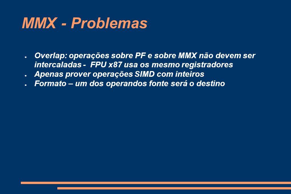 MMX - Problemas Overlap: operações sobre PF e sobre MMX não devem ser intercaladas - FPU x87 usa os mesmo registradores Apenas prover operações SIMD c