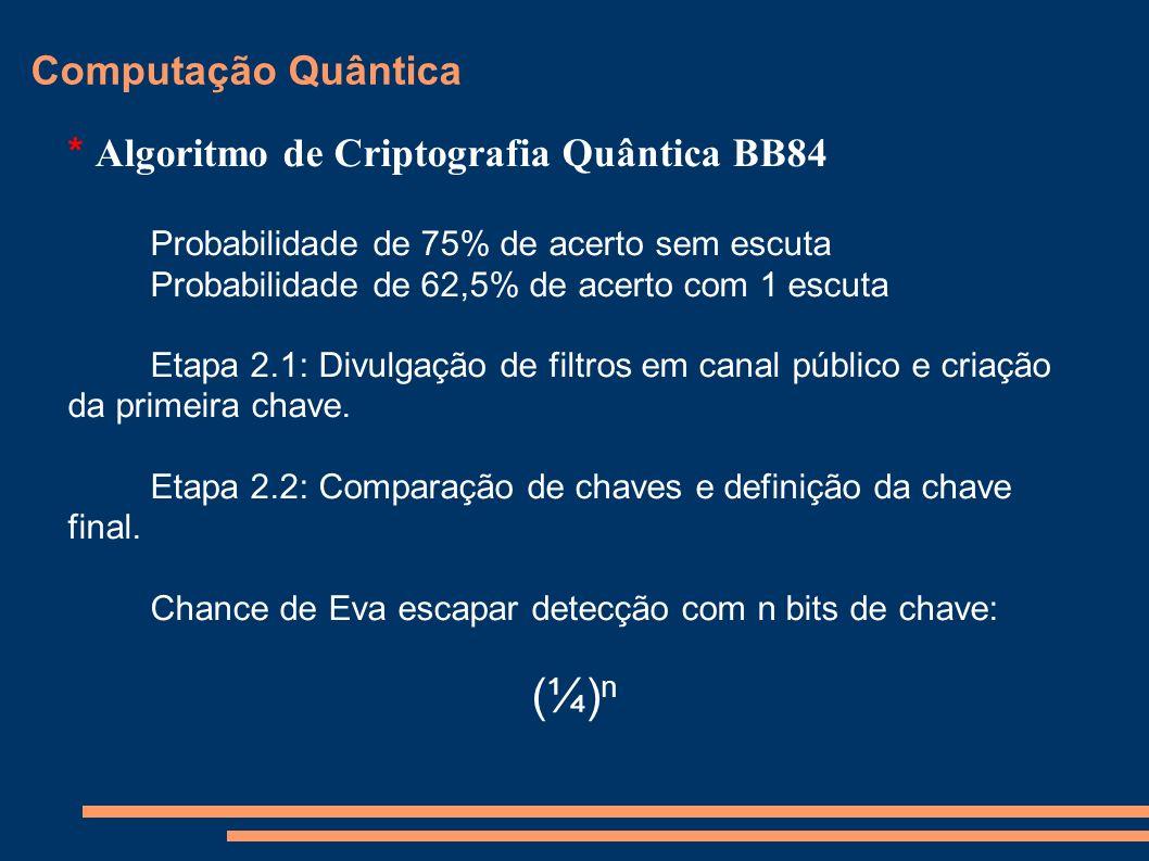 Computação Quântica * Algoritmo de Criptografia Quântica BB84 Probabilidade de 75% de acerto sem escuta Probabilidade de 62,5% de acerto com 1 escuta