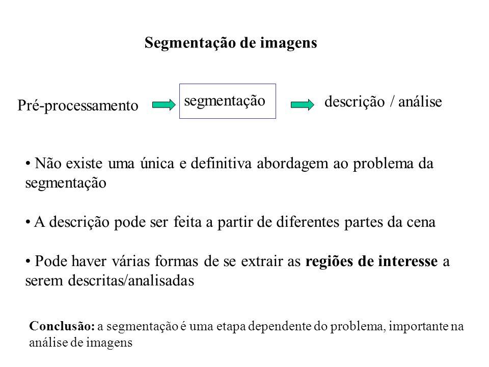 Classificação geral Completa: resulta num conjunto de regiões disjuntas Parcial: não corresponde diretamente a imagens de objetos Técnicas de segmentação: baseada em conhecimento global baseada no contorno dos objetos baseada nas regiões definidas pelos objetos