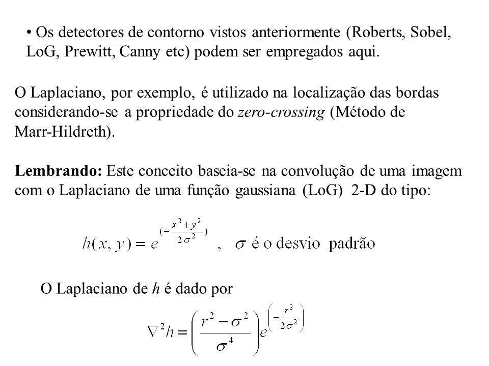 Os detectores de contorno vistos anteriormente (Roberts, Sobel, LoG, Prewitt, Canny etc) podem ser empregados aqui. O Laplaciano, por exemplo, é utili
