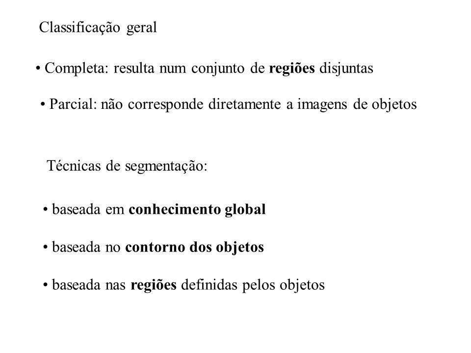 Classificação geral Completa: resulta num conjunto de regiões disjuntas Parcial: não corresponde diretamente a imagens de objetos Técnicas de segmenta