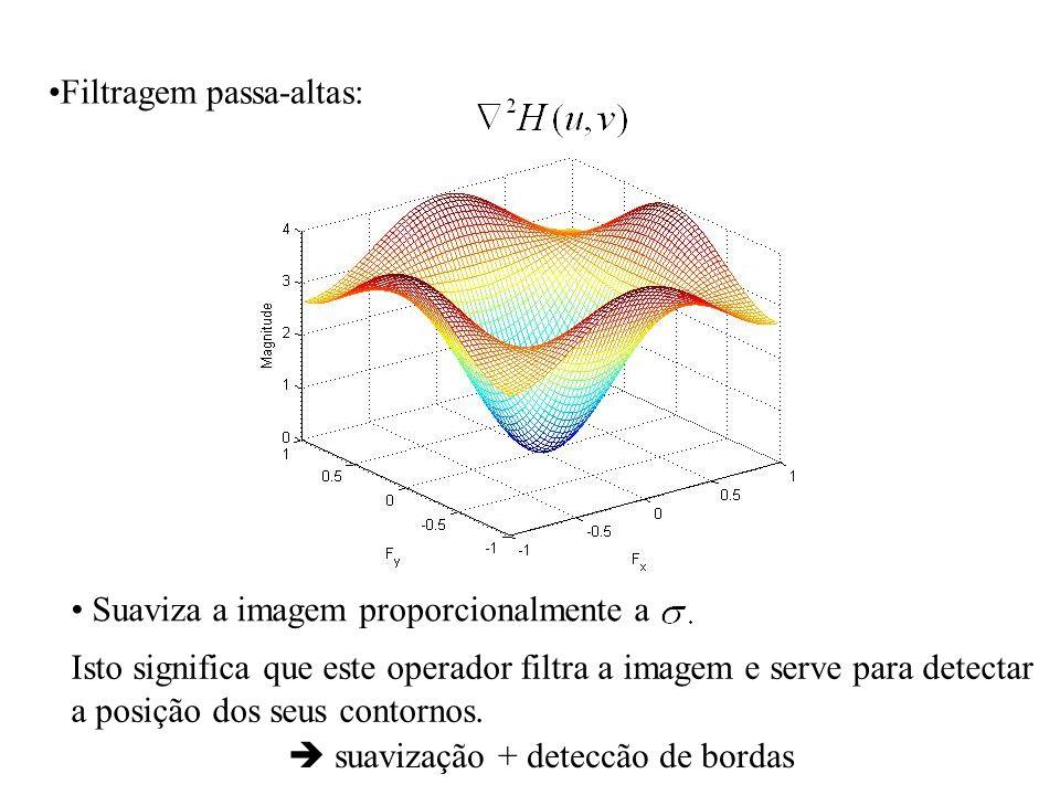 Filtragem passa-altas: Suaviza a imagem proporcionalmente a Isto significa que este operador filtra a imagem e serve para detectar a posição dos seus