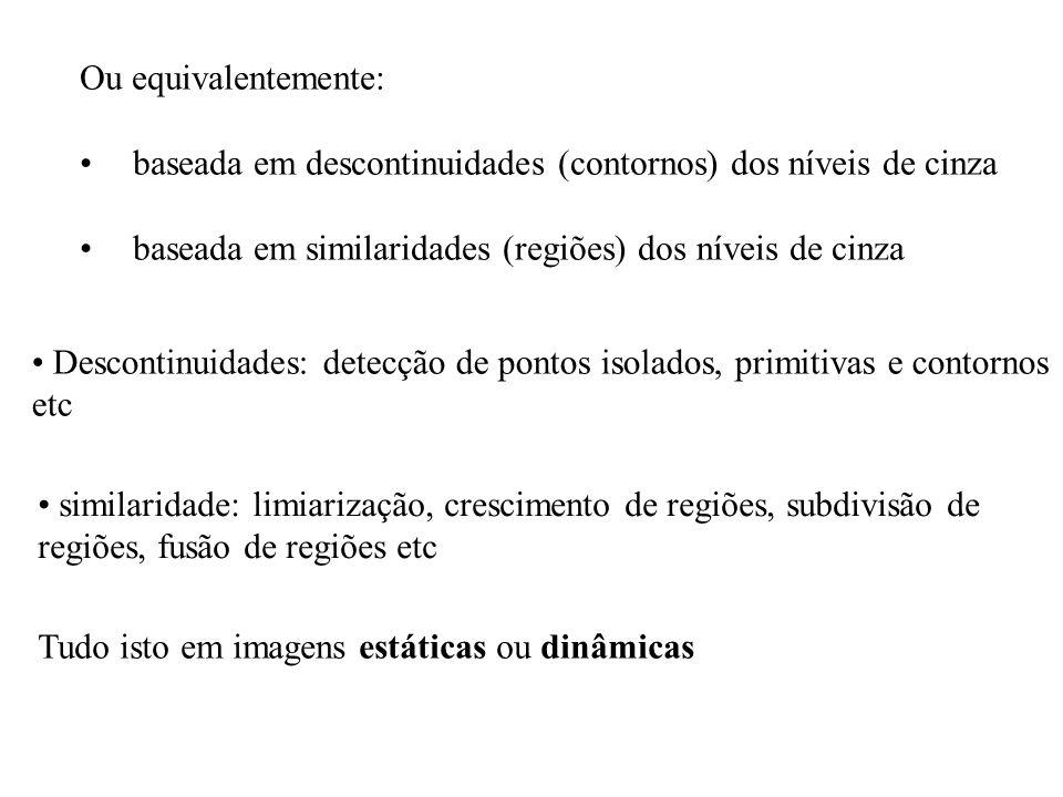 Ou equivalentemente: baseada em descontinuidades (contornos) dos níveis de cinza baseada em similaridades (regiões) dos níveis de cinza Descontinuidad