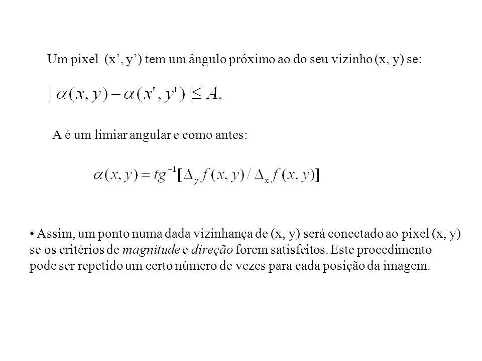 Um pixel (x, y) tem um ângulo próximo ao do seu vizinho (x, y) se: A é um limiar angular e como antes: Assim, um ponto numa dada vizinhança de (x, y)