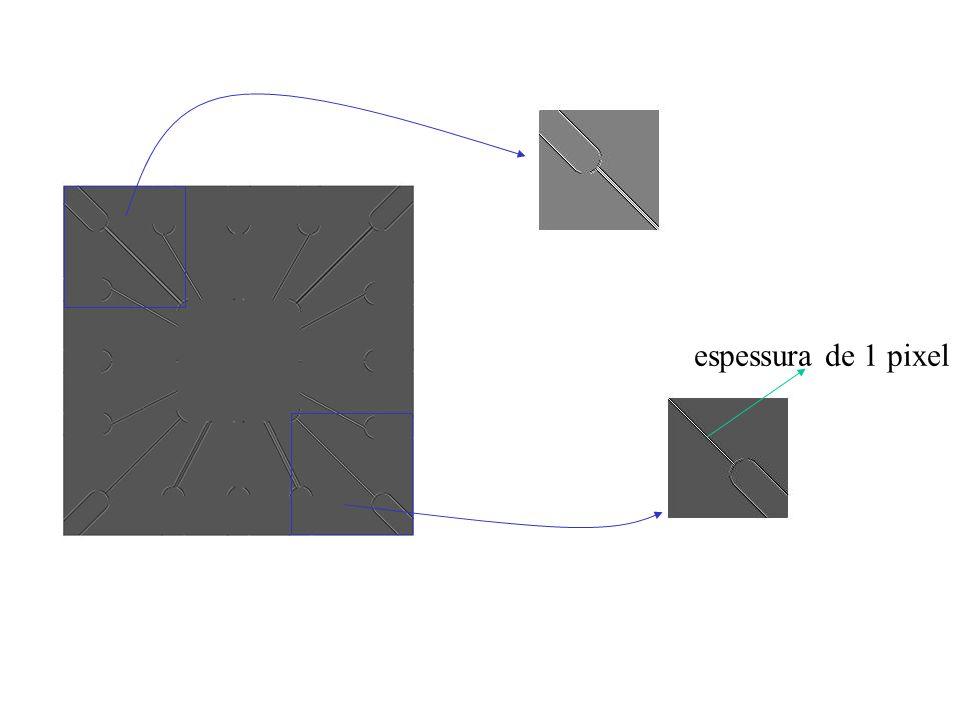LoG Sobel Original Função gaussiana Máscara laplaciana LoG LoG limiarizado: f(x,y) > 0 Zero-crossing