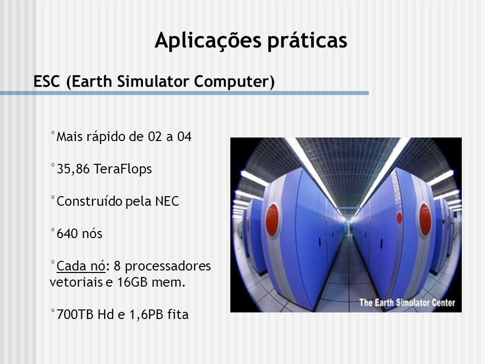 Aplicações práticas ESC (Earth Simulator Computer) °Mais rápido de 02 a 04 °35,86 TeraFlops °Construído pela NEC °640 nós °Cada nó: 8 processadores ve