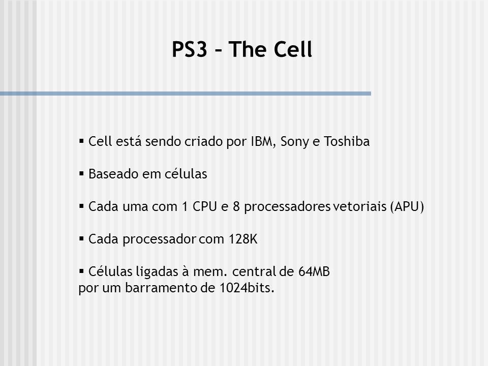 PS3 – The Cell Cell está sendo criado por IBM, Sony e Toshiba Baseado em células Cada uma com 1 CPU e 8 processadores vetoriais (APU) Cada processador